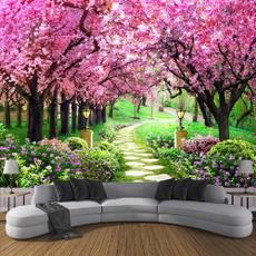 Decoración, roomdivider, walltapestry, cherryblossom