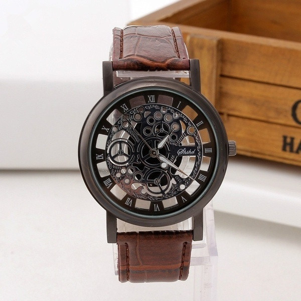 Steel, quartz, leather, Watch