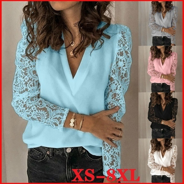 shirtsforwomen, Summer, Plus Size, Lace