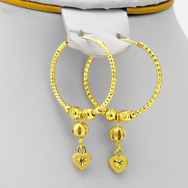 goldplated, Heart, Jewelry, goldballearring