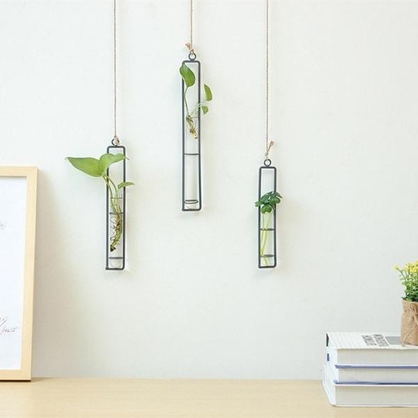 Home & Kitchen, hangingflowervase, Iron, glassvase