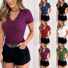 Plus Size, Shirt, Sleeve, vnecktop