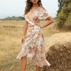 Summer, fashion women, short sleeve dress, ruffle