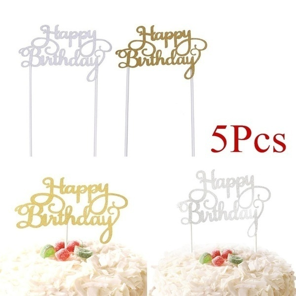 happybirthday, golden, caketopper, Party Supplies