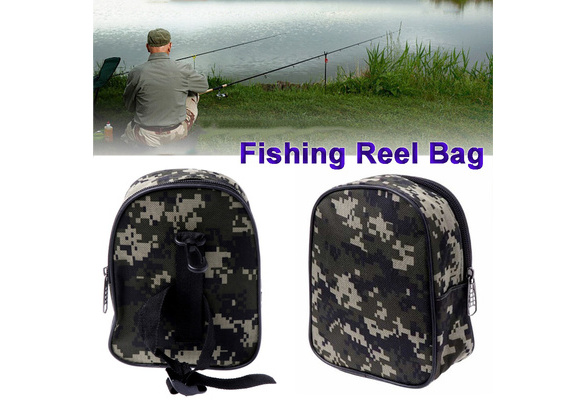 Portable Fishing Reel Mini Bag Pocket Fishing Tackle Pouch Case Outdoor/>