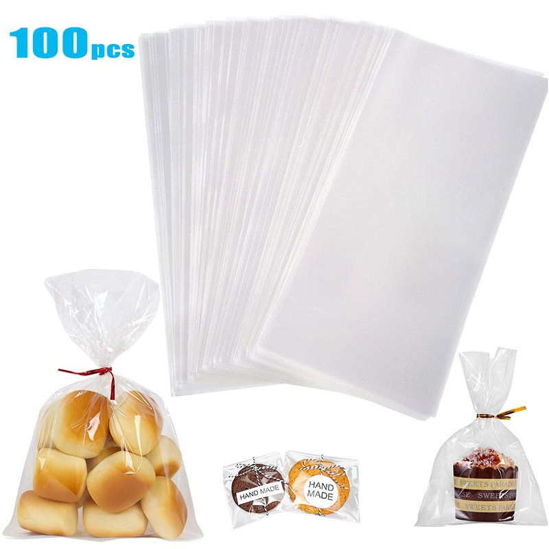 100pcs Clear Cellophane Opp Plastic Bags For Candy Lollipop Cookie Package Storage Bag Wedding Party Gifts Bag Wish