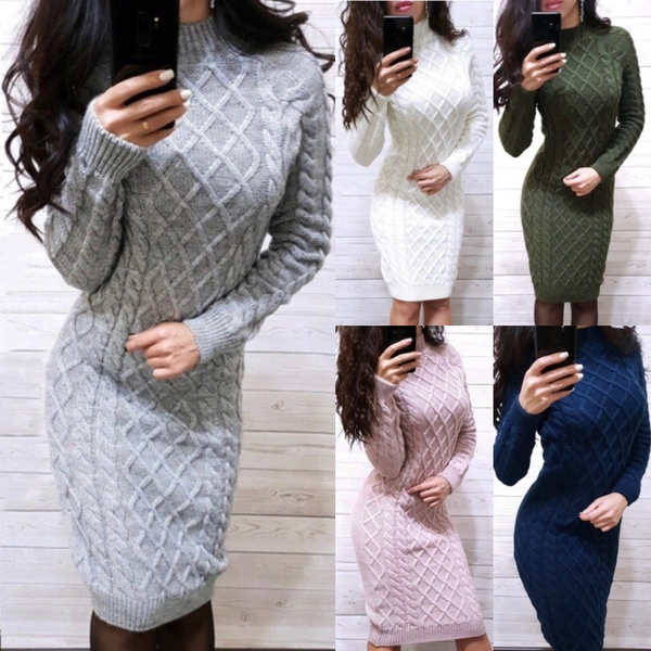 Thicken, Plus Size, sweater dress, Sleeve