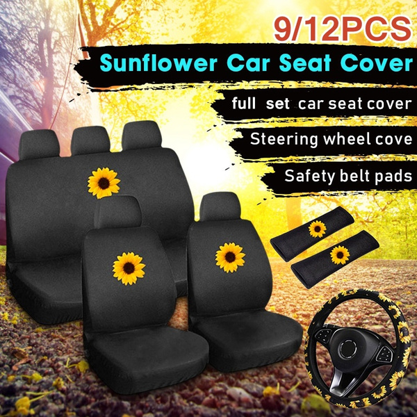 Include Green Leaf Sunflower Steering Wheel Cover Car Cup Holder Coaster and Sunflower Coins Keyring Seat Belt Shoulder Pads 9 Pieces Green Leaf Sunflower Car Accessories Set Car Front Seat Covers