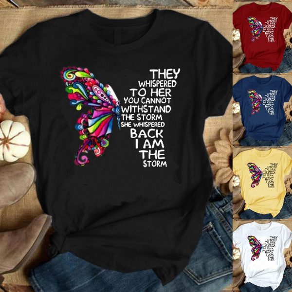 butterfly, Tops & Tees, short sleeves, Plus Size