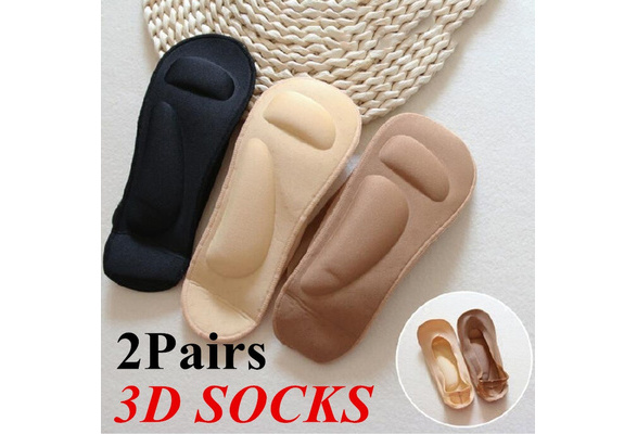 1//2 Pairs Ladies 3D Boat Socks Breathable Cushion Ball Foot Massage Health Care