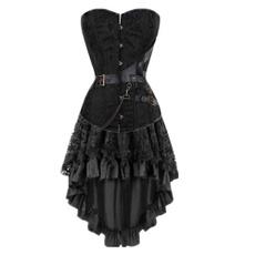 brown, Black Corset, Plus Size, Dress