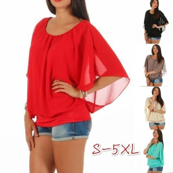 blouse, Plus Size, Slim T-shirt, chiffon
