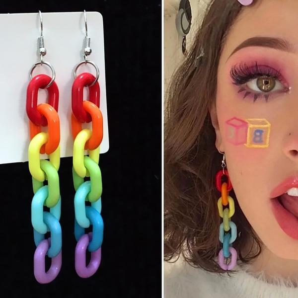 chainlinkearring, rainbow, Dangle Earring, punk earring