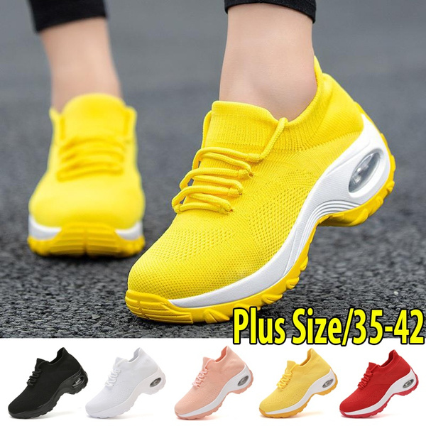 Wedges Shoes For Women Yellow Sneakers