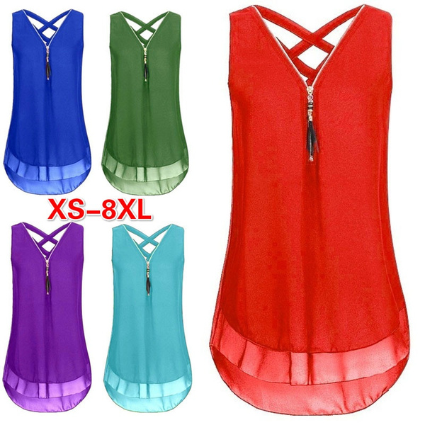 Summer, Plus Size, chiffon, blouse