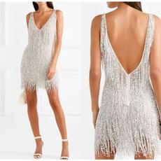 Mini, Fashion, fringe dress, slim dress
