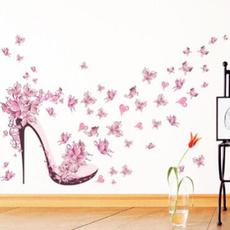 pink, butterfly, butterflywallsticker, Womens Shoes