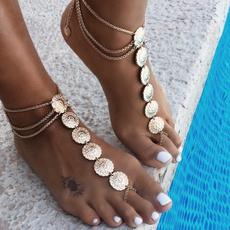 Summer, Fashion, Anklets, gold
