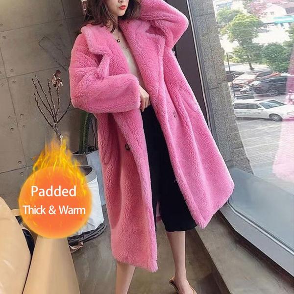 Women Winter Faux Fur Warm Long Coat, Pink Teddy Bear Faux Fur Coat