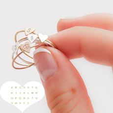 Couple Rings, lettering, Heart Shape, stackablering
