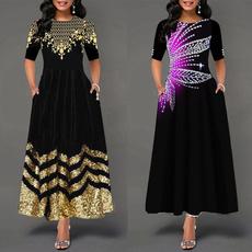 fashion women, Floral print, Sleeve, Patchwork