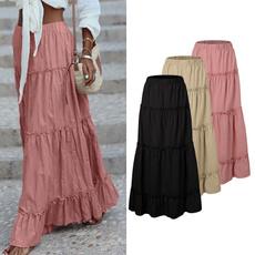Summer, long skirt, elastic waist, Cotton