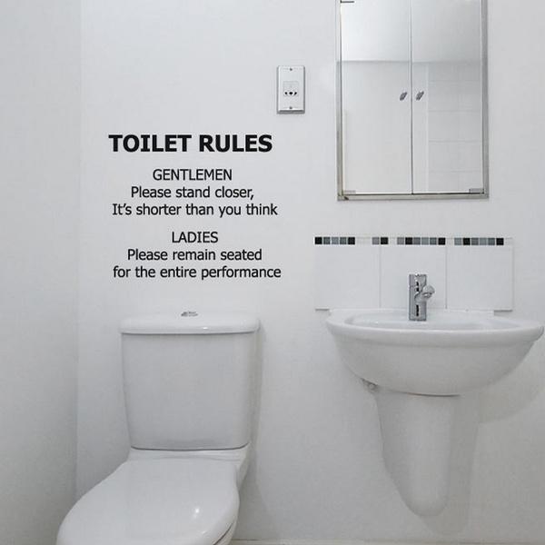 Funny Bathroom Wall Decal Toilet Rules, Funny Bathroom Decals