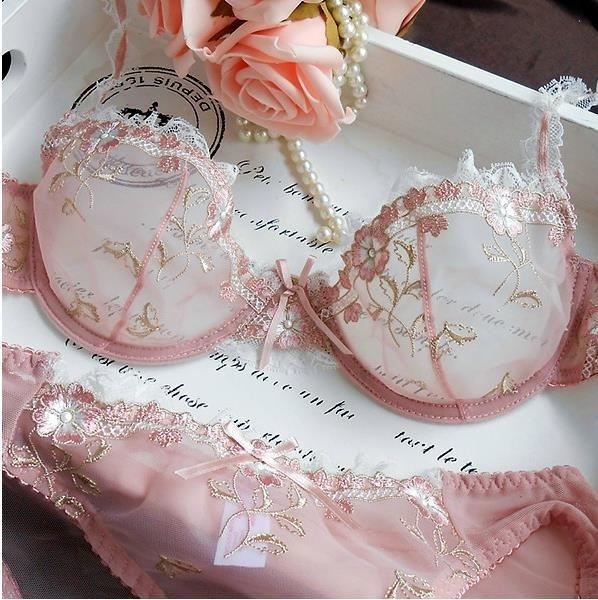 Underwear, Fashion, transparentlaceembroiderybra, sexylingerieset