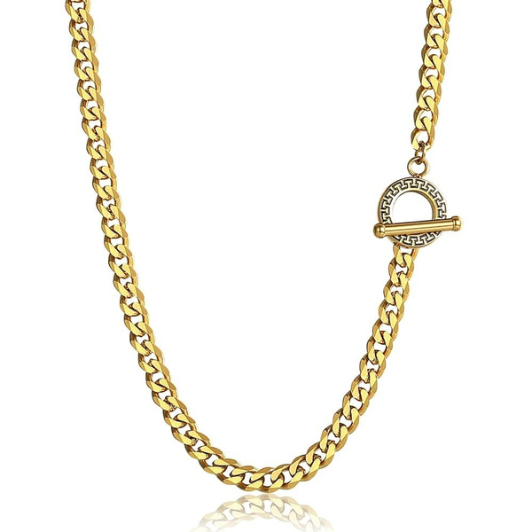 Stainless Steel, gold, Men, curbchainnecklace