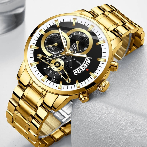 golden, Fashion, Casual Watches, business watch