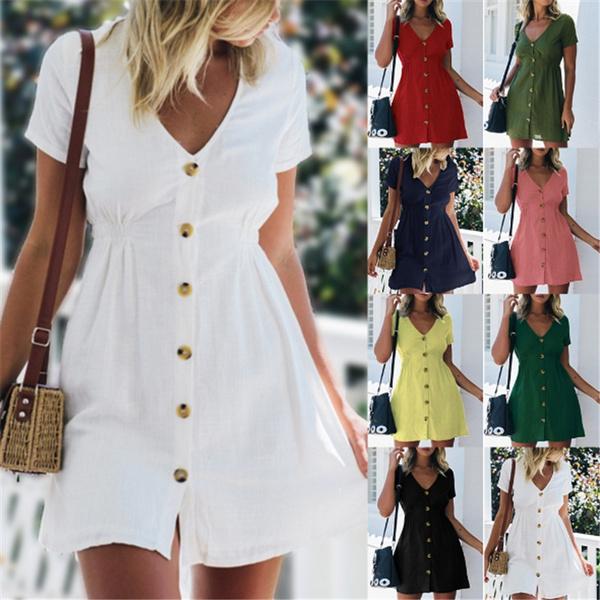 short sleeve dress, solidcolordre, Waist, Dress