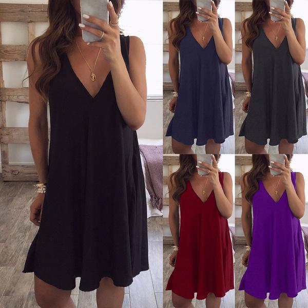 Summer, Fashion, Necks, Deep V-neck Dress