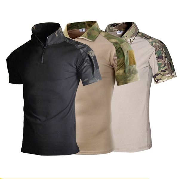CARWORNIC Mens Tactical Shirt Quick Dry Short Sleeve Sport Polo Shirt Army Military Outdoor T Shirt
