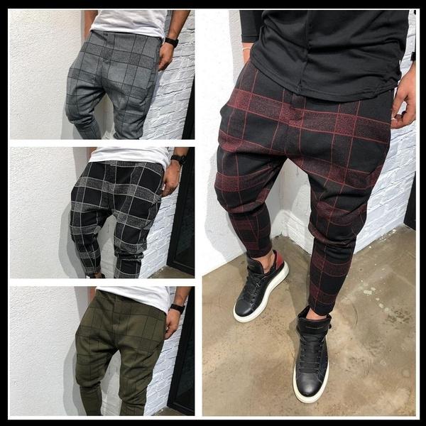 stripedtrouser, plaidtrouser, plaid, Casual pants