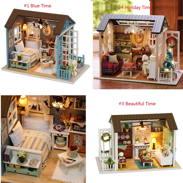 DIY Miniature Wooden House Studio Kit LED Light 3D Retro Furniture Handcraft Toy