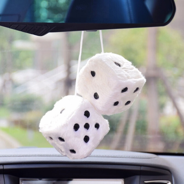 New 2Pcs//Pair Fuzzy Dice Dots Rear View Mirror Hanger Decoration Car Styling
