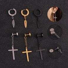 punk earring, gold, Stainless Steel, Cross