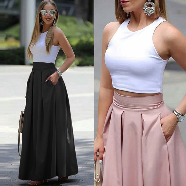 Summer, long skirt, Plus Size, crop top