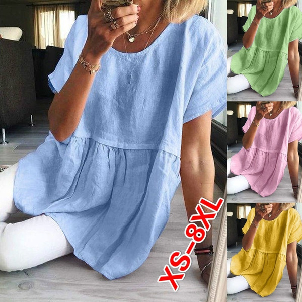 Womens Short Sleeve Short O-Neck Tee T-Shirt Casual Solid Tops Blouse Fashion Womens Summer Tops