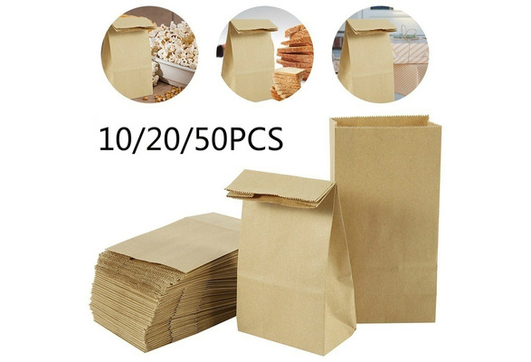 Rustic Wedding Treat Bags Picnic Bags Set of 10-  Wax Coated Kraft Lunch Style Bag 3 sizes to choose from  || Wedding Favor Bags