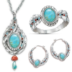 Turquoise, Bridal, Necklace, 925 silver rings