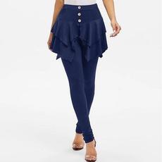 Fashion, ruffle, skinny pants, Women Leggings