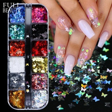 nail decoration, butterfly, nail decals, Glitter