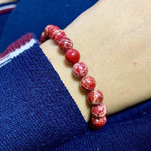 bracelethommeperle, perle, jasperbracelet, rougebracelet