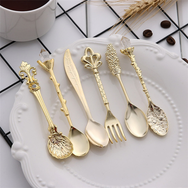 coffeespoon, Forks, Coffee, gold