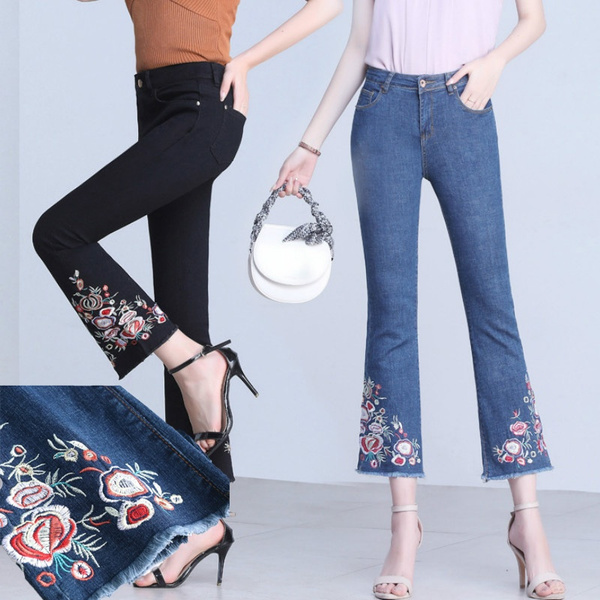 Summer, flaredjean, Flowers, embroideryjean
