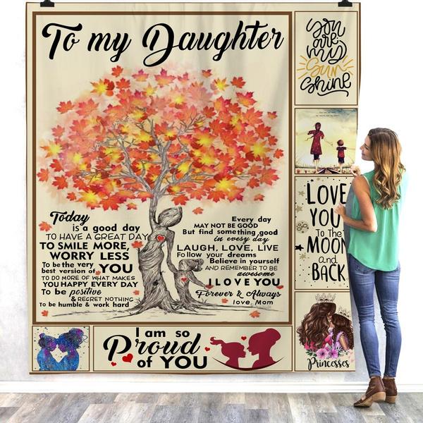 TO MY DAUGHTER MY BABY GIRL3D CUSTOM SHERPA FLEECE PHOTO BLANKET FAN GIFT