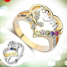 Silver hearts, Heart, grandmotherring, DIAMOND
