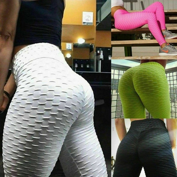 Womens Push Up Yoga Leggings Sports Pants High Waist Ruched Gym Trousers