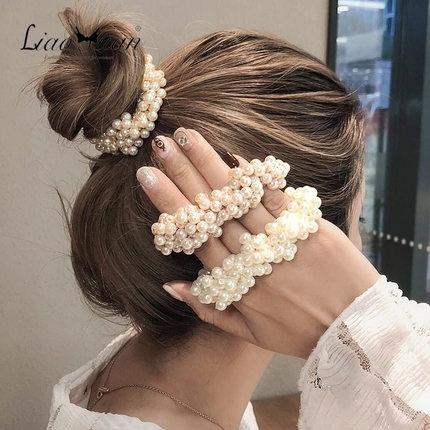 Fashion, Elastic, pearls, Hair Pins
